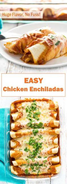Easy Chicken Enchiladas via Fox Valley Foodie vegetarian mexican recipes; Authentic Mexican Recipes, Vegetarian Mexican Recipes, Mexican Dessert Recipes, Mexican Chicken Recipes, Easy Chicken Recipes, Beef Recipes, Cooking Recipes, Recipies, Dinner Recipes