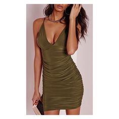 In The Club Olive Green Double Spaghetti Strap Plunge V Neck Ruched... ($38) ❤ liked on Polyvore featuring dresses, short dresses, brown dress, bodycon mini dress, brown cocktail dress and plunging v neck dress