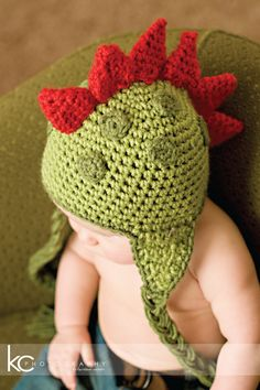 CROCHET PATTERN Dinosaur Hat (5 Sizes Included Newborn to Adult)   Permission to sell all finished items. $4.99, via Etsy.