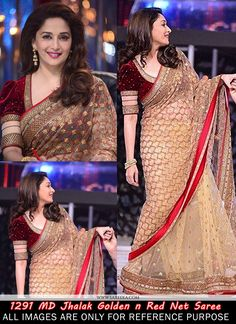 Madhuri dixit style beige and red net saree beautified with fancy embroidery work. The saree comes with maroon colored velvet embroidered blouse and beige color satin petticoat fabric. This saree is a. Source by Blouses Golden Blouse Designs, Sari Blouse Designs, Designer Blouse Patterns, Fancy Blouse Designs, Choli Designs, Lehenga Designs, Kaftan, Net Saree Blouse, Golden Saree