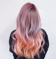 Purple lilac lavender roots to peach tips ombré for wavy long hair. Would love to try this!