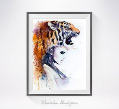 Tiger Girl watercolor painting print Fashion by SlaviART on Etsy