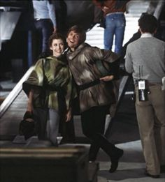 Carrie and Mark BTS on Return of the Jedi