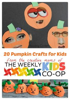 20 Fun Pumpkin Crafts for Kids from The Weekly Kids Co-Op at B-Inspired Mama Find 20 fun and creative Pumpkin Crafts for Kids at The Weekly Kids Co-Op Link Party! Perfect for Fall and Halloween fun. Casa Halloween, Theme Halloween, Halloween Crafts For Kids, Halloween Activities, Autumn Activities, Pumpkin Crafts Kids, Thanksgiving Crafts, Fall Crafts, Holiday Crafts