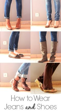 Have you ever wondering how to wear jeans with shoes? Boyfriend, skinny, flair with flats, wedges or heels? Here is your guide to wearing jeans with shoes. Fashion Mode, Fashion Outfits, Womens Fashion, Fashion Shoes, Fashion Tips, Looks Jeans, Jeans With Heels, Skinny Jeans Shoes, Ankle Boots With Jeans