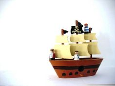 Wooden toys .. the Jolly Roger crew  pirates and by mooshoopork