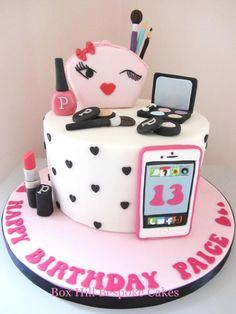 Make up & Phone Cake by Noreen@ Box Hill Bespoke Cakes Makeup Birthday Cakes, 13 Birthday Cake, Birthday Cakes For Teens, Happy Birthday, Spa Birthday Parties, Spa Party, Teen Cakes, Girly Cakes, Cute Cakes