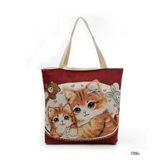 Fashion Women Shoulder Bags Canvas Zipped Cute Cats Printing Ladies Girls Handbag Casual Bag Big Capacity BS88