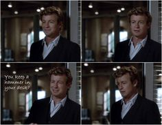 I love Jane and Lisbon His face reflects such horror😂 Best Tv Shows, New Shows, Movies And Tv Shows, Simon Baker, I Love Simon, Robin Tunney, Patrick Jane, Cop Show, Detective Series
