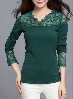 Graceful V-Neck Long Sleeve Lace Splicing Color T-Shirt For Women- saved 4 idea - correcting over-stretched boat-necks Green Dress Outfit, Black Button Down Shirt, Casual Outfits, Cute Outfits, Fashion Project, Beautiful Blouses, Sammy Dress, T Shirts For Women, Clothes For Women