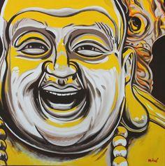 HAPPY BUDDHA GOOD ENERGY 36x36 inches oil on canvas by dragoslav milic