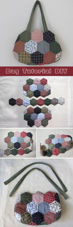 Hexagon patchwork hand bag. DIY tutorial in pictures.  http://www.handmadiya.com/2015/09/bag-patchwork-of-hexagons.html