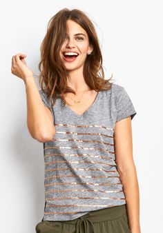 Metallic Striped V Tee