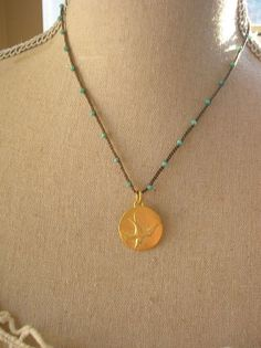 Crochet necklace bird pendant Boho Trinkets boho by 3DivasStudio