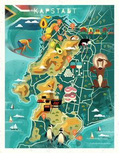 Map of Cape Town by Dieter Braun. Pretoria, Town Drawing, South Africa Map, Map Projects, Illustrator, Country Maps, Map Design, Logo Design, City Illustration