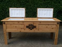 Wooden Rustic Double Cooler w 2 Igloo Ice Chests by SoPreshSoChic, $799.00