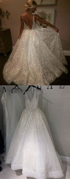 elegant sparkle wedding dresses with v-back, fashion formal wedding gowns , #wedding