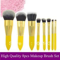 beleza novo profissional escova facial limão 8 pcs pincéis de maquiagem conjunto kit escova cosmética sintética macia pó foudation escova