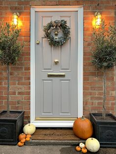 Our beautiful front door makeover! I've been absolutely desperate to get a new front door for the last four and a half years since I moved in so. Country Front Door, Cottage Front Doors, Victorian Front Doors, Grey Front Doors, Beautiful Front Doors, Painted Front Doors, House Front Door, House With Porch, Painted Upvc Door