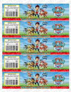 Paw Patrol Water Bottle Labels Instant by CoolPartyMonkeys, $5.00