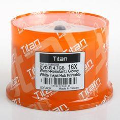 Titan Dvd-r 16x Semi-gloss (Glossy) Water Resistant, White Inkjet Printable Blank Media Discs 4.7gb (T6895098) in 50 Cake Box by Titan. $19.99