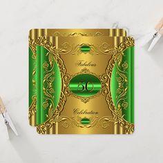 Elegant Green Lime Gold Fabulous 50th Birthday Invitation | Zazzle.com Elegant Birthday Party, Gold Birthday Party, Birthday Woman, 50th Birthday Invitations, Party Invitations, Party Stores, Elegant Invitations, Paper Design, Lime