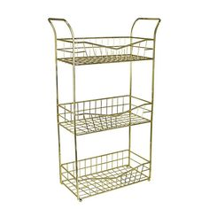 Ideal for where you have limited bathroom storage, this three-tier wire storage unit is simple in design and finished in a stylish gold colourway suitable for many bathroom decor styles. Storage Caddy, Wire Storage, Home Board, Reception Rooms, Gold Wire, Bathroom Storage, Soft Furnishings, Kitchen Organization, Decor Styles