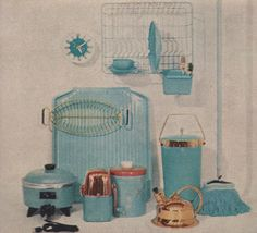 Kitchen Ideas 1959. I once lived in a mobile home with aqua stove, sink and refrigerator.  These kitchen items would have really touched up the white counters and cupboards.
