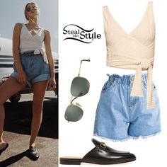 Sierra Furtado posted a picture on instagram today wearing a Reformation Ace Top ($78.00), Mura Boutique Lost and Found Shorts ($36.46), Ray-Ban Hexagonal Flat Lenses ($150.00) and Gucci Princetown Loafer Mules ($650.00).