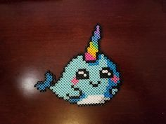 hama beads Narwhal by psycosulu Easy Perler Bead Patterns, Melty Bead Patterns, Perler Bead Templates, Diy Perler Beads, Perler Bead Art, Beading Patterns, Pearler Beads, Hama Beads Kawaii, Loom Patterns
