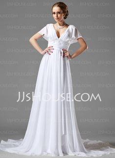 A-Line/Princess V-neck Chapel Train Chiffon Wedding Dress With Ruffle Lace Beadwork (002000687) - JJsHouse