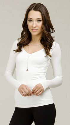 ANGL | Basic Fitted V-Neck Long Sleeve Top - White