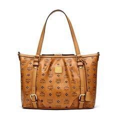 Mcm Medium Gold Visetos Studs Zip Per Tote In Brown Bags