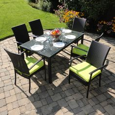 Lime Green Cushions Outdoor Wicker Patio Furniture Dining Turks Entertaining