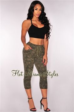 Camo Vintage Wash Capri Sweat Joggers Women's clothing hot miami styles hotmiamistyles hotmiamistyles.com