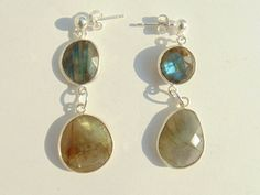 Earrings - Labradorite and Silver 925 Length approx 4 cm Weight approx 3.5 g / piece by FantasyStones on Etsy