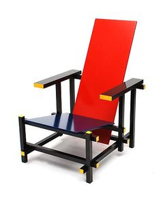 Wooden red blue armchair design Gerrit Rietveld 1918 executed by Cassina / Italy after 1973