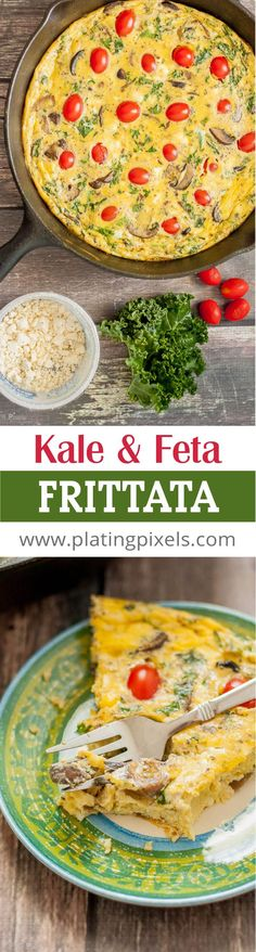 Kale and Feta Frittata by Plating Pixels. Easy and healthy frittata with rich feta cheese. Kale, mushrooms, onion and tomatoes create a flavorful vegetarian frittata. - www.platingpixels.com