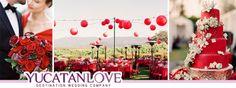 Bodas en color rojo intenso #Wedding #red #decor #YUCATANLOVE