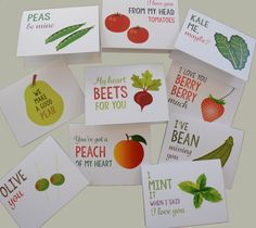 Do you like bad puns? Do you love fruits and veggies? If the answer to either of those questions is yes, this set of 10 fun and silly fruit and