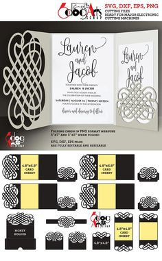 tri fold wedding invitation templatesv Design Bundles