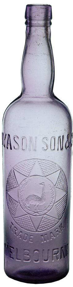 Dyason Son Co Melbourne (Collingwood). Emu in Wreath trade mark. Antique Bottles, Vintage Bottles, Recycled Bottles, Bottles And Jars, Antique Glass, Glass Bottles, Canning Jars, Mason Jars, Trade Mark