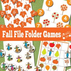 Perfect for practicing Spanish letters, Spanish numbers and Spanish Colors - Free Printable Fall File Folder Games - Alphabet, Counting, Colors. Fall Preschool, Preschool Learning, Classroom Activities, Craft Activities, Fun Learning, Preschool Activities, Preschool Printables, Teaching, Preschool Readiness
