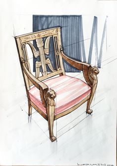 Sketch chair on Behance Interior Design Sketches, Industrial Design Sketch, Chair Design, Furniture Design, Furniture Sketches, Modern High Chair, Rocking Chair Plans, Traditional Dining Chairs, Mismatched Dining Chairs