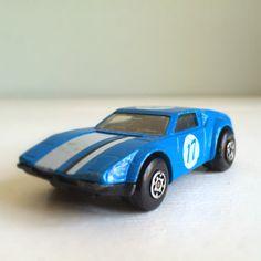 1970s Vintage Matchbox Car - Lesney De Tomaso Pantera Sports Car - Blue with White Stripes - Collector No. 8