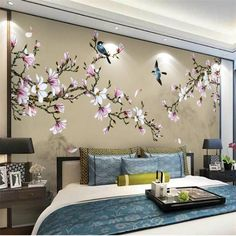 Wall Designs With Wood Modern Wall Decor Ideas Personalizing Home Interiors With Unique Wall Painting Flowers, Tree Wall Painting, Decorative Wall Paintings, Tree Wall Murals, Tree Wall Decor, Bedroom Murals, Bedroom Wall, Bedroom Decor, Wall Wallpaper