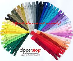 Zipperstop Wholesale YKK® Ykk-made in Usa- 54 Assorted Nylon Coil Zippers Tailor Sewer Craft 7 Inch Crafter's Special - Made in USA Color Swatches, Off Colour, Amazon Art, 9 And 10, Free Pattern, Craft Projects, Arts And Crafts, Sewing, Couture