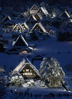"Snow in Japanese traditional wooden houses, ""Gassho zukuri,""  Shirakawa-go in Gifu, Japan"