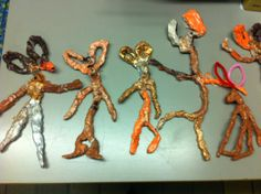 Art club looked at the artist Barry Flanagan's hare sculptures.  They built armatures out of pipe cleaners, and then added clay around the pipe cleaners and left to dry. Then they painted them. They are joy personified.