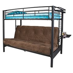 Great space saving bed option! Come see our great selection of beds at Big Lots!      Metal frame     Bunk bed holds standard twin mattress     Metal futon frame holds standard futon pad     Built in ladder     Assembly required